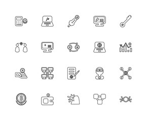 Collection of 20 Blockchain linear icons such as Bitcoin, Monero
