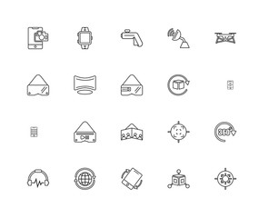 Collection of 20 Augmented Reality linear icons such as Smartpho