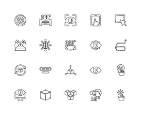 Collection of 20 Augmented Reality linear icons such as Rotation