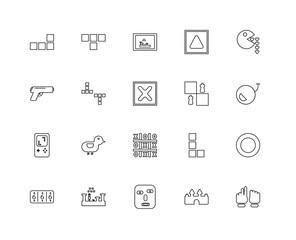 Collection of 20 Arcade linear icons such as Game, Paper, Castle