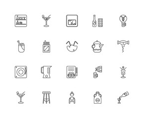 Collection of 20 Alcohol linear icons such as Music, Wine, Jug,
