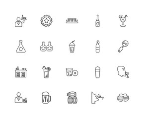 Collection of 20 Alcohol linear icons such as Bar, Cheers, Wine