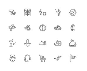 Collection of 20 Airport terminal linear icons such as Right Win
