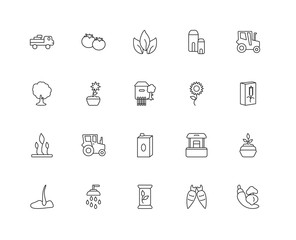 Collection of 20 agriculture linear icons such as Sprout, Vegeta