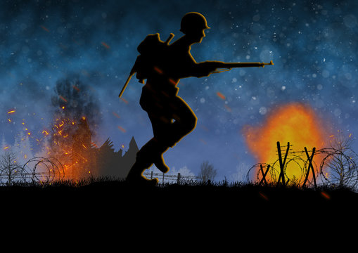 World War 2 image with US soldier silhouette