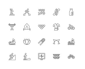 Collection of 20 Activities linear icons such as Ice skating, Bm