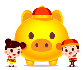 Vector cute Chinese boy and girl character with giant golden pig for happy new year card