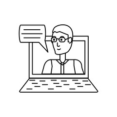 young man in laptop with speech bubble