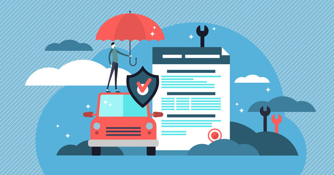 Car insurance vector illustration. Stylized car with agreement and umbrella