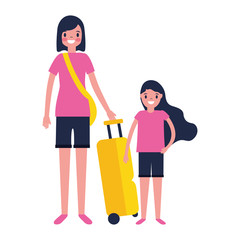 woman and girl suitcase travel vacations
