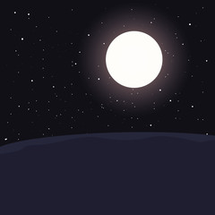 night moon stars landscape