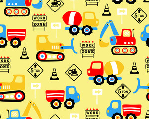 Vector of seamless pattern with industry vehicle cartoon