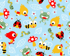 Vector of seamless pattern with little animals cartoon