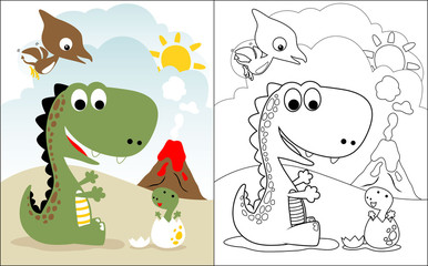 coloring book vector with dinosaurs world cartoon