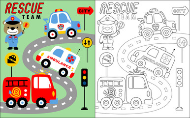 coloring book vector of rescue team vehicle cartoon with funny traffic cop