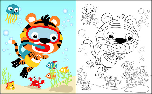 coloring book vector with diving tiger