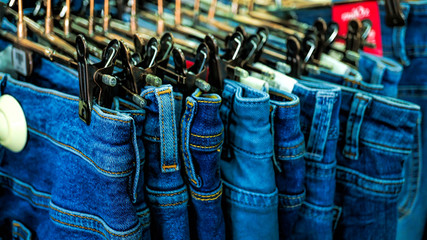 sale in store, Jeans,  fabric, trousers, american