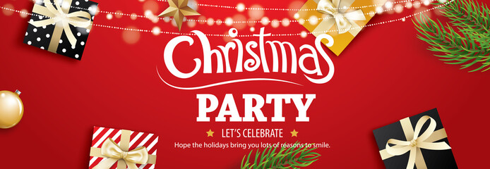 Invitation merry christmas party poster banner and card design template on red background. Happy holiday and new year with tree and gift box theme concept.