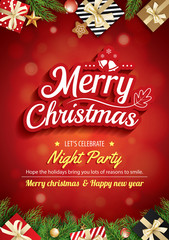 Merry christmas greeting card and party on red background invitation theme concept. Happy holiday design template.