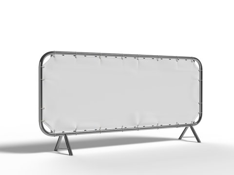 Blank crowd barrier cover and banner Cover for branding or event. 3d render illustration.