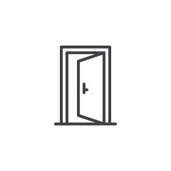 Open door outline icon. linear style sign for mobile concept and web design. Exit doorway simple line vector icon. Push door symbol, logo illustration. Pixel perfect vector graphics