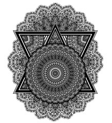 Complex geometric composition with ornate pattern.