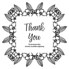 Card Thank you with flower frame vector art