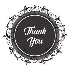 vector flower thank you text hand draw
