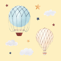 Fototapete - Watercolor air baloon illustration