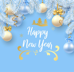 Blue Happy New Year greeting card with fir branches and Christmas balls.