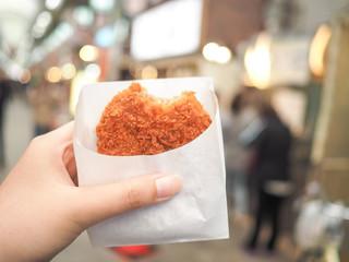 fried meat in the market