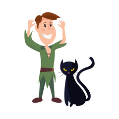 child in halloween costume with black cat