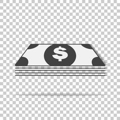 Cash  money icon on transparent background. Flat image money with shadow. Layers grouped for easy editing illustration. For your design.