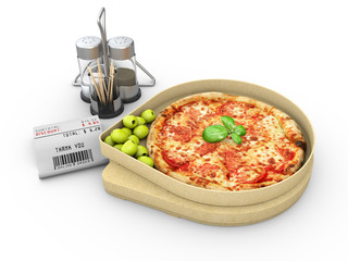 3d illustration of Pizza in a cardboard box against a white background, Pizza delivery.