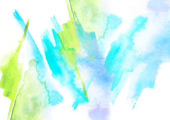 Watercolor blue, green background, blot, blob, splash of blue, green paint. Watercolor blue, green sky, spot, abstraction. Abstract art illustration, scenic background. Abstract artistic frame.
