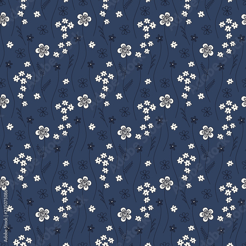 Cute Seamless Pattern With Small Flowers On A Dark Blue Background Abstract Decorative