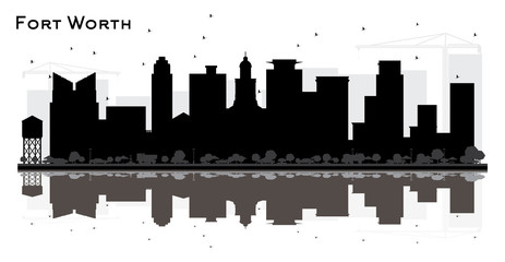 Fort Worth Texas City Skyline Silhouette with Black Buildings and Reflections.