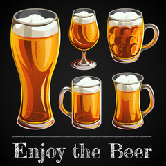 Illustration of beer glass. Mugs and glasses for toast with light beer on black background.