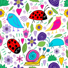 Hand drawn snail, bird, bug, ladybug, flowers, leaves doodle. Seamless pattern. Print for kids design