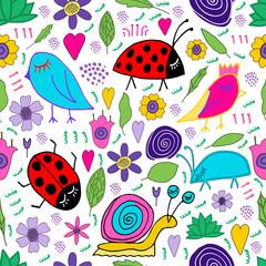 Hand drawn snail, bird, bug, ladybug, flowers, leaves doodle. Seamless pattern. Print for kids design