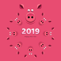 Banner with a pig's snouts on pink background. 2019 New Year.