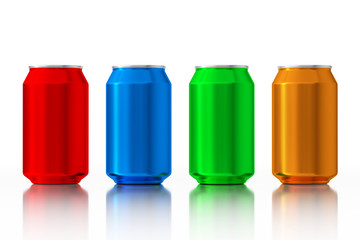Set of Multicolour Blank Aluminum Cans. 3d Rendering