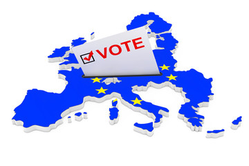 Voting in Europe Concept. Voting Card Half Inserted in Ballot Box in Shape of European Union Map with Flag. 3d Rendering