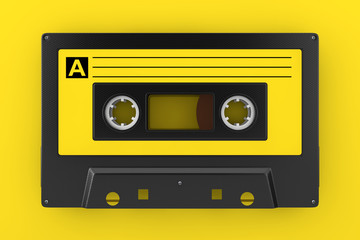 Yellow Old Vintage Audio Cassette Tape. 3d Rendering