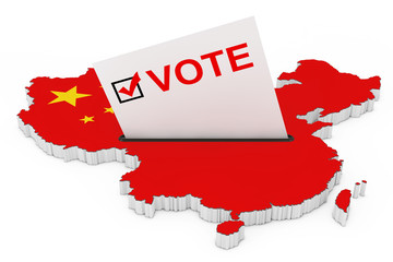 Voting in China Concept. Voting Card Half Inserted in Ballot Box in Shape of China Map with Flag. 3d Rendering