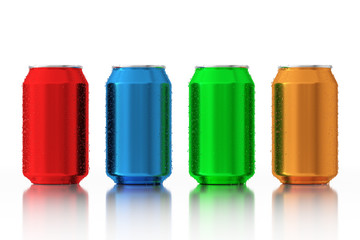 Set of Multicolour Blank Aluminum Cans with Water Drops. 3d Rendering