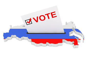Voting in Russia Concept. Voting Card Half Inserted in Ballot Box in Shape of Russian Map with Flag. 3d Rendering