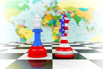 US America and Russia Flags on Kings Chess over a Chess Board. 3d Rendering