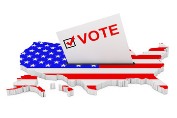 Voting in USA Concept. Voting Card Half Inserted in Ballot Box in Shape of USA Map with Flag. 3d Rendering