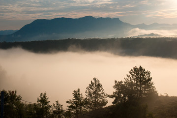 sunrise in provence sisteron france southern europe